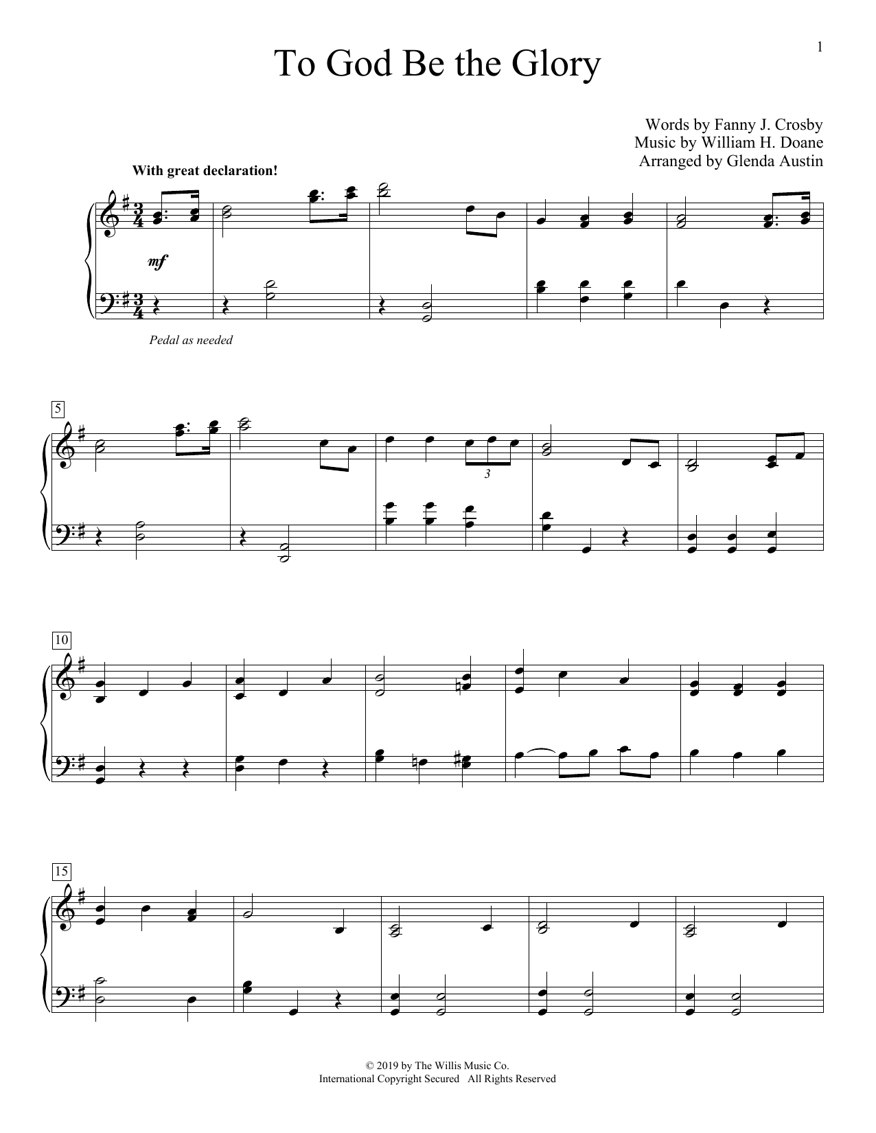 To God Be The Glory (arr. Glenda Austin) (Educational Piano)