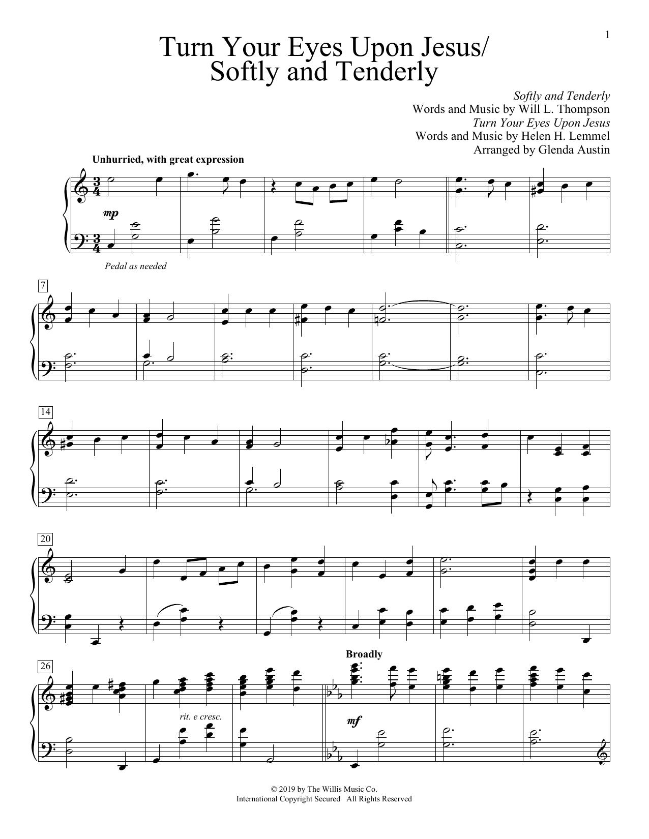 Turn Your Eyes Upon Jesus/Softly And Tenderly (arr. Glenda Austin) (Educational Piano)