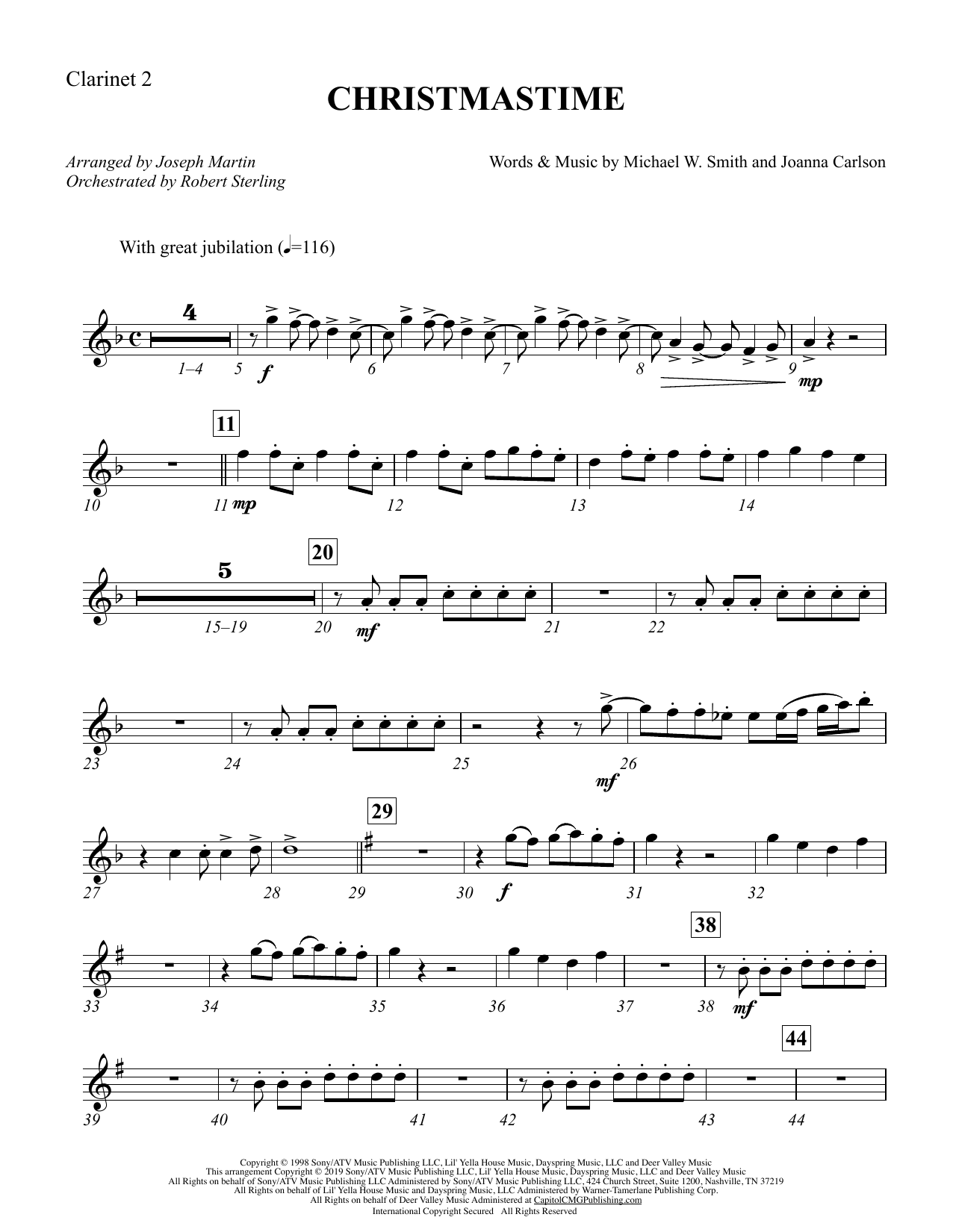 Christmastime (arr. Joseph M. Martin) - Bb Clarinet 2 (Choir Instrumental Pak)