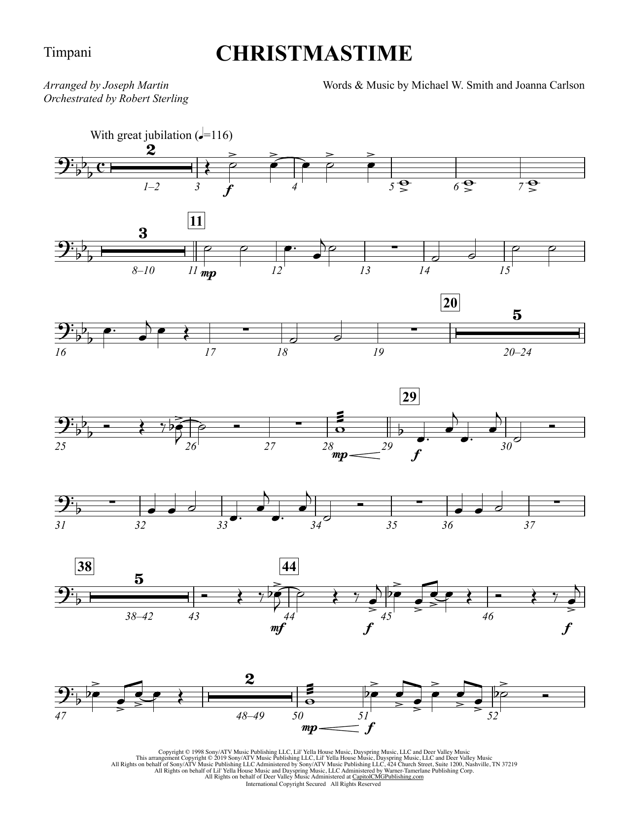 Christmastime (arr. Joseph M. Martin) - Timpani (Choir Instrumental Pak)