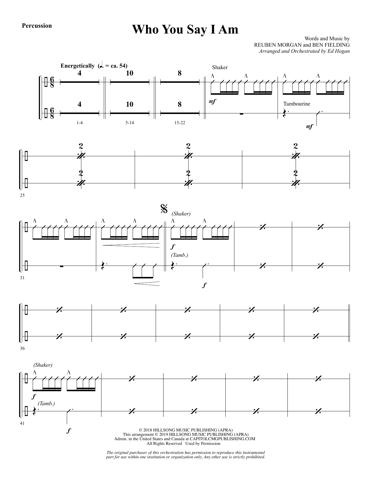 Who You Say I Am (arr  Ed Hogan) - Percussion by Hillsong Worship Choir  Instrumental Pak Digital Sheet Music