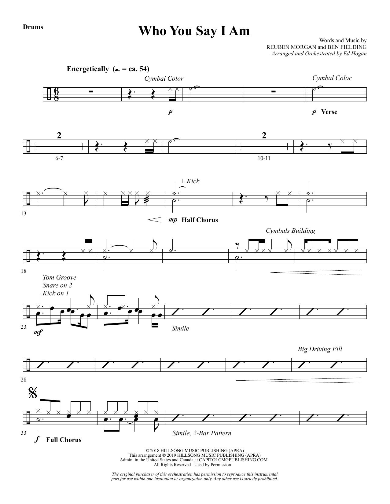 Who You Say I Am (arr. Ed Hogan) - Drums Sheet Music