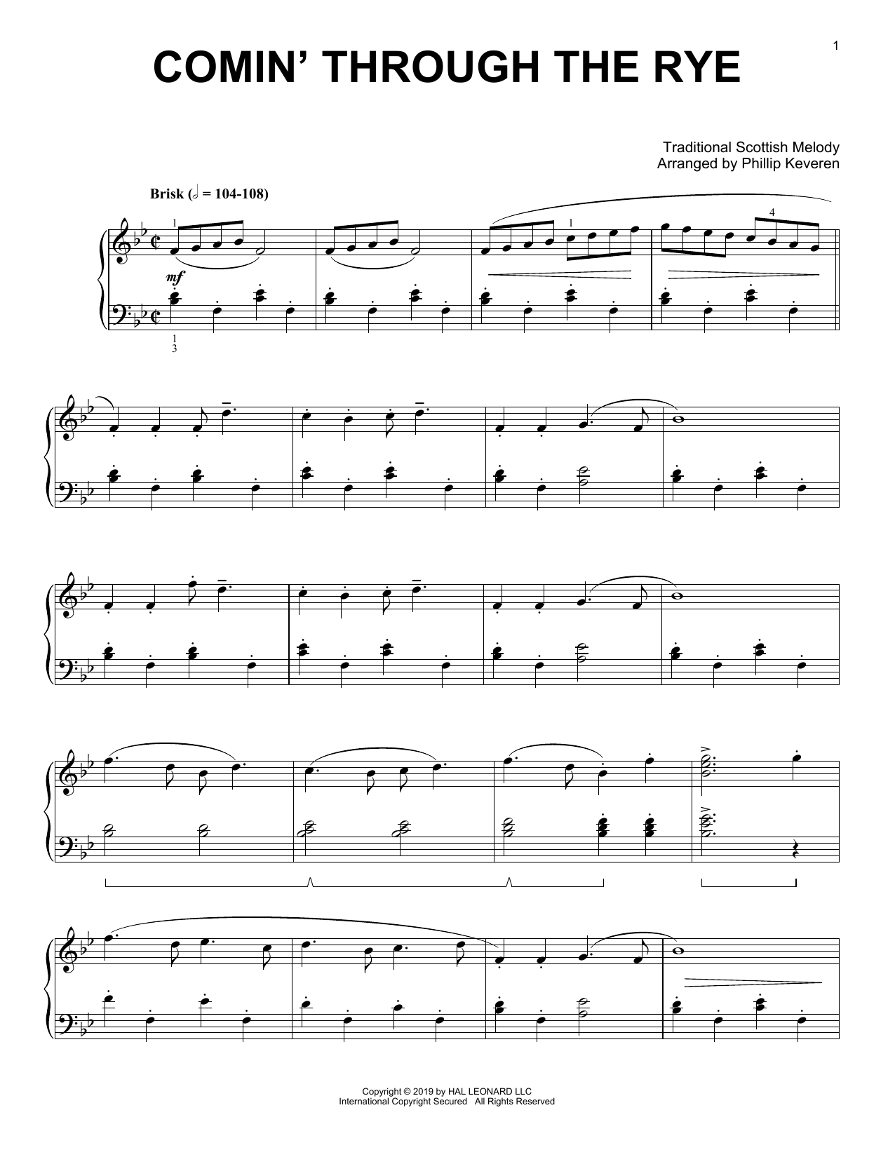 Comin' Through The Rye (arr. Phillip Keveren) (Piano Solo)