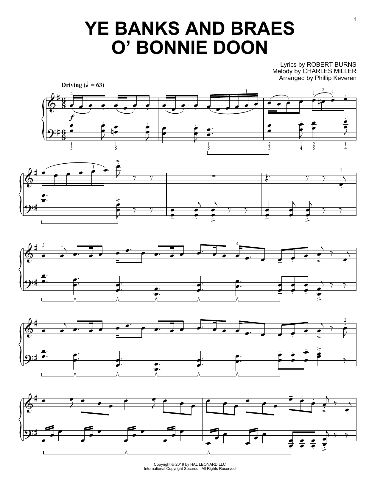 Ye Banks And Braes O' Bonnie Doon (arr. Phillip Keveren) (Piano Solo)