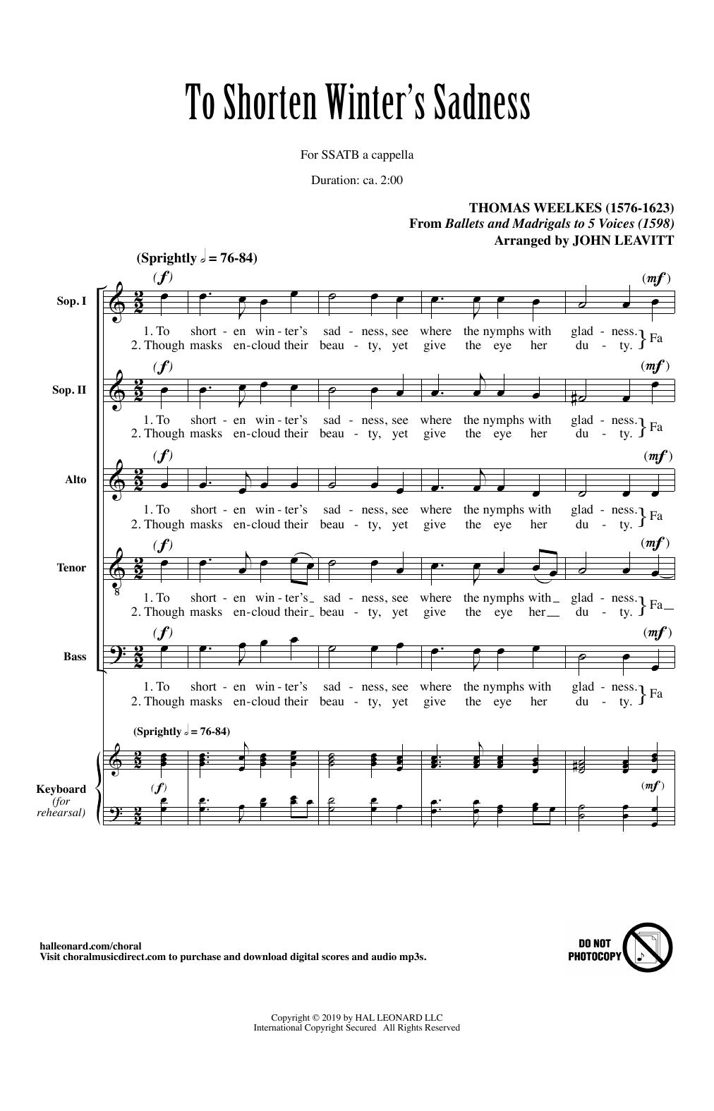 To Shorten Winter's Sadness (arr. John Leavitt) (SATB Choir)