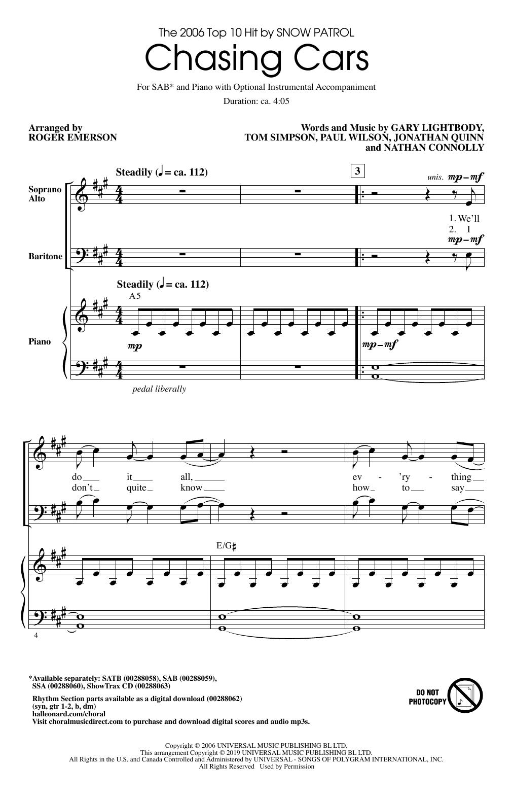 Chasing Cars (arr. Roger Emerson) (SAB Choir)