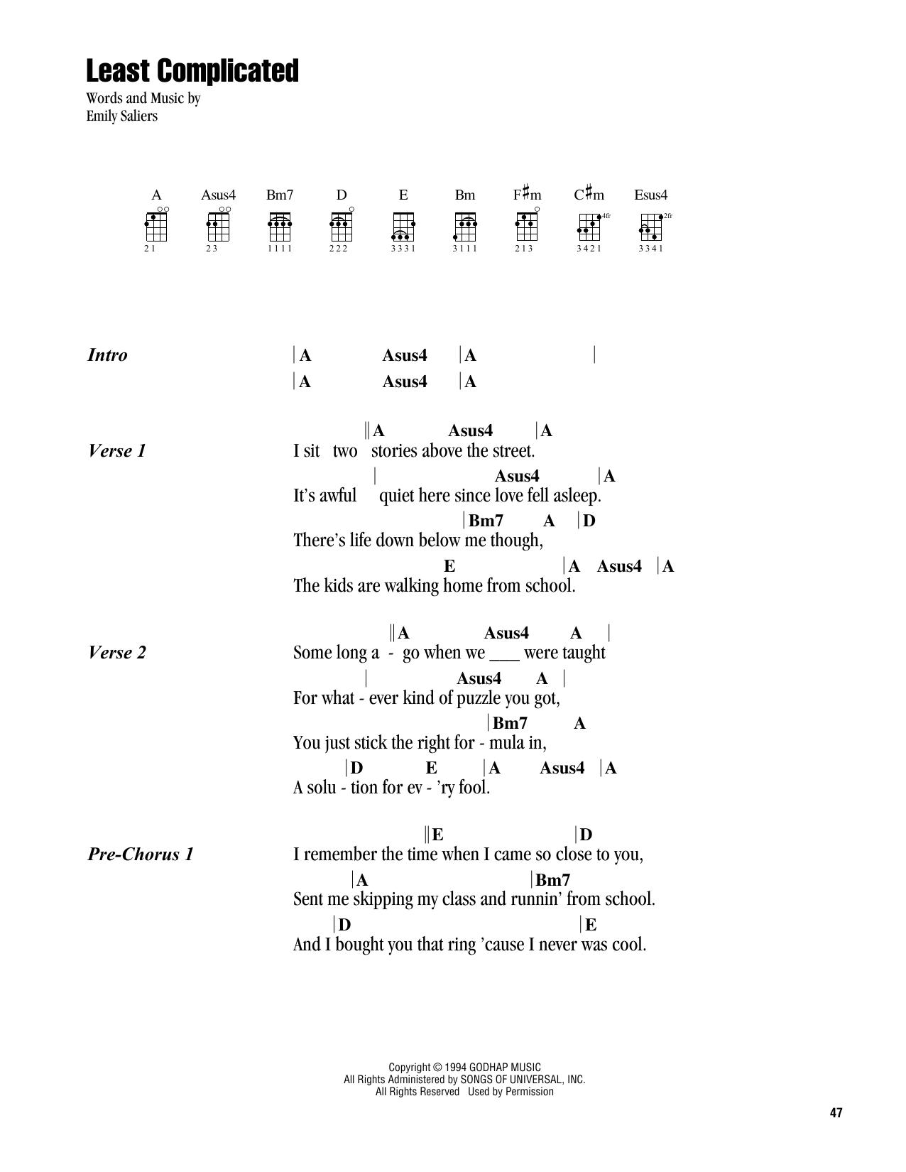 Least Complicated (Ukulele Chords/Lyrics)
