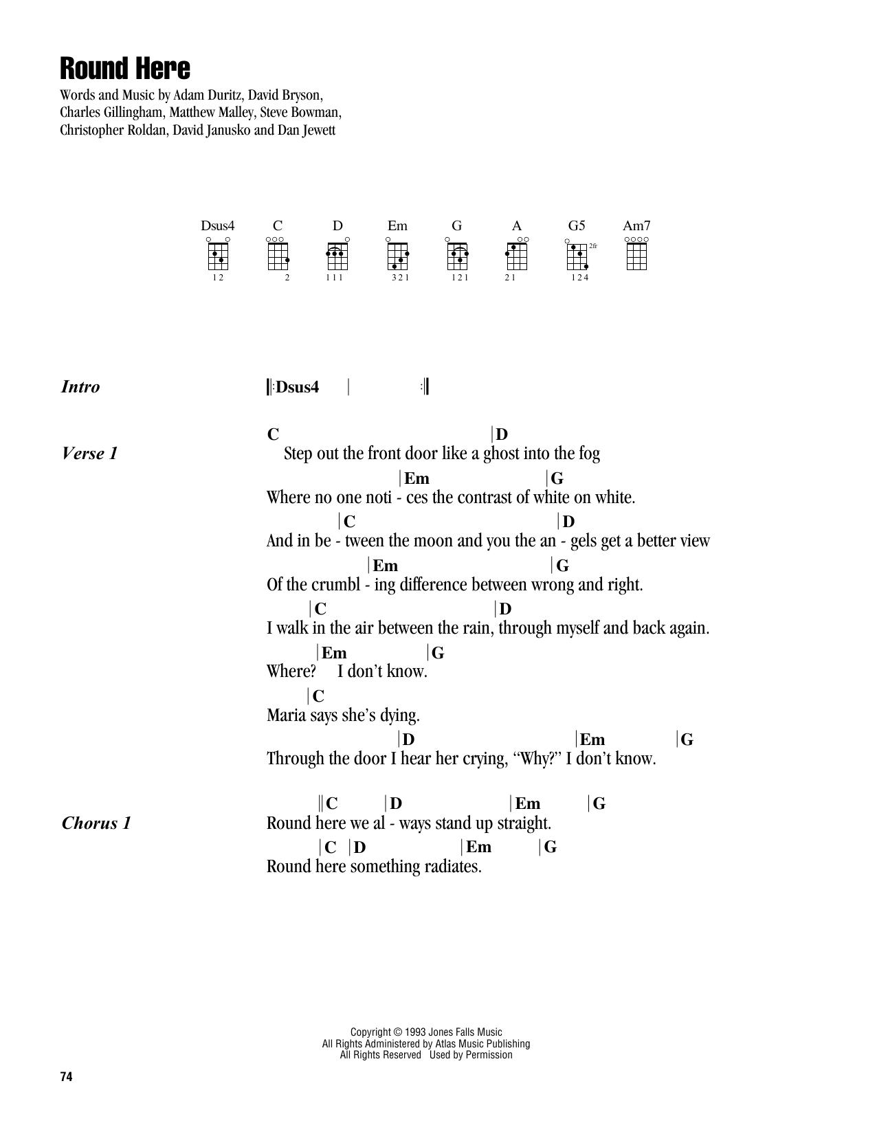 Round Here (Ukulele Chords/Lyrics)