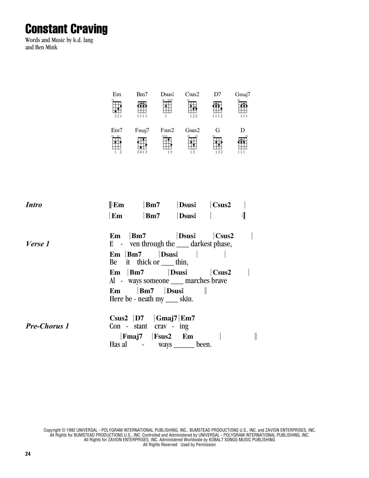 Constant Craving (Ukulele Chords/Lyrics)