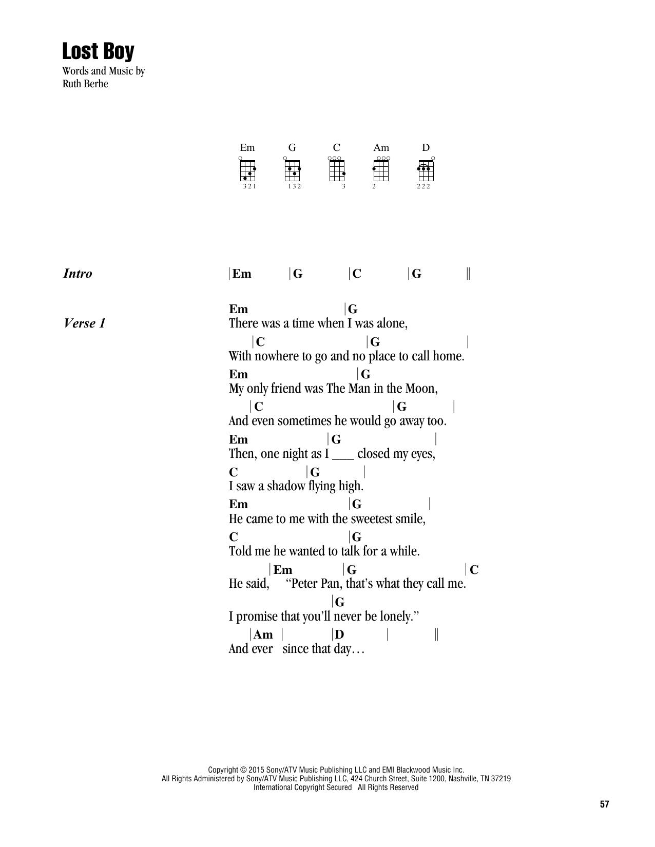 Lost Boy (Ukulele Chords/Lyrics)