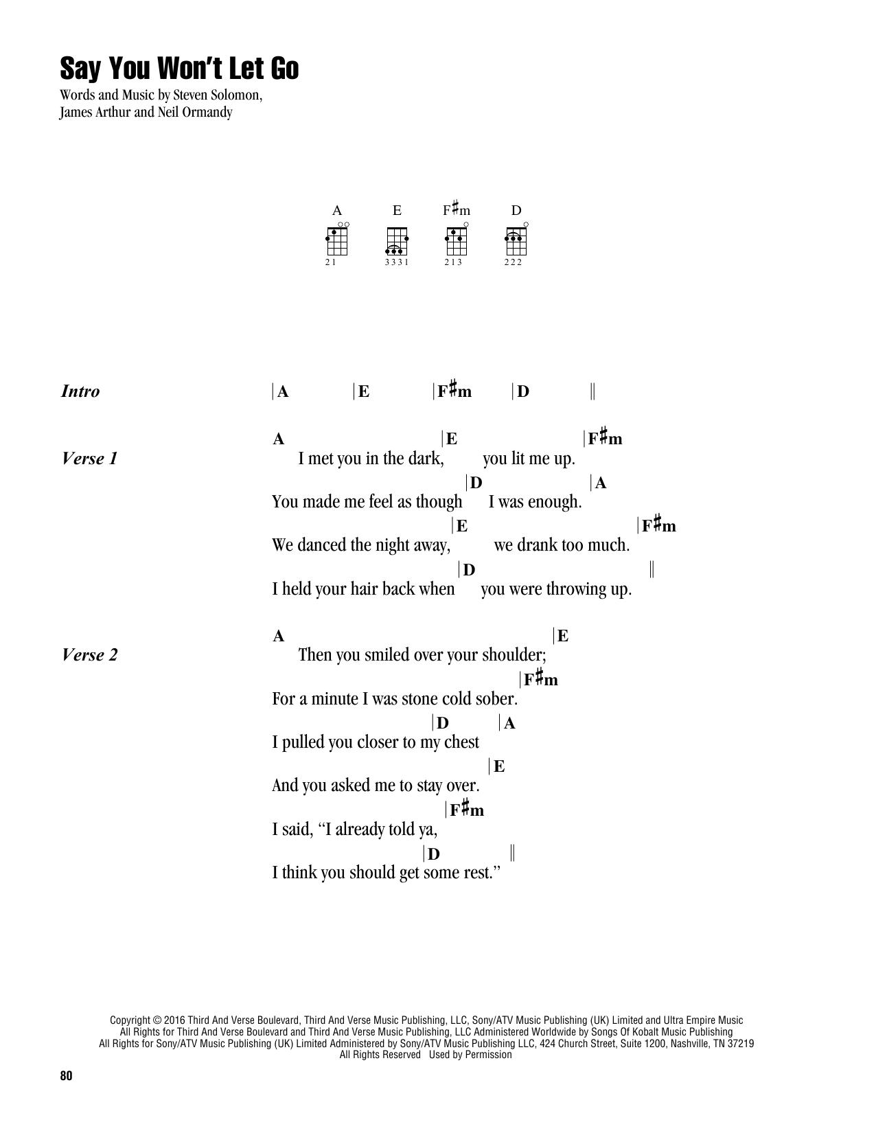 Say You Won't Let Go (Ukulele Chords/Lyrics)