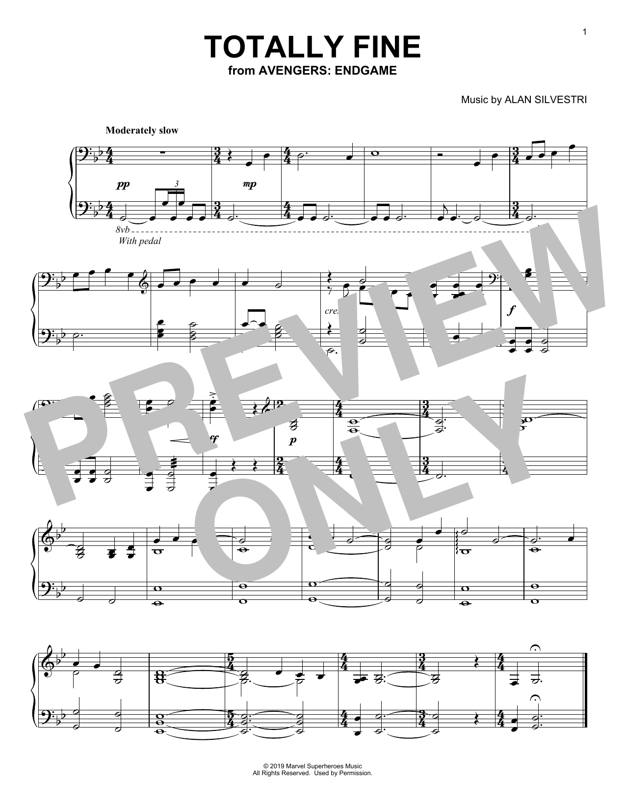 Totally Fine (from Avengers: Endgame) (Piano Solo)