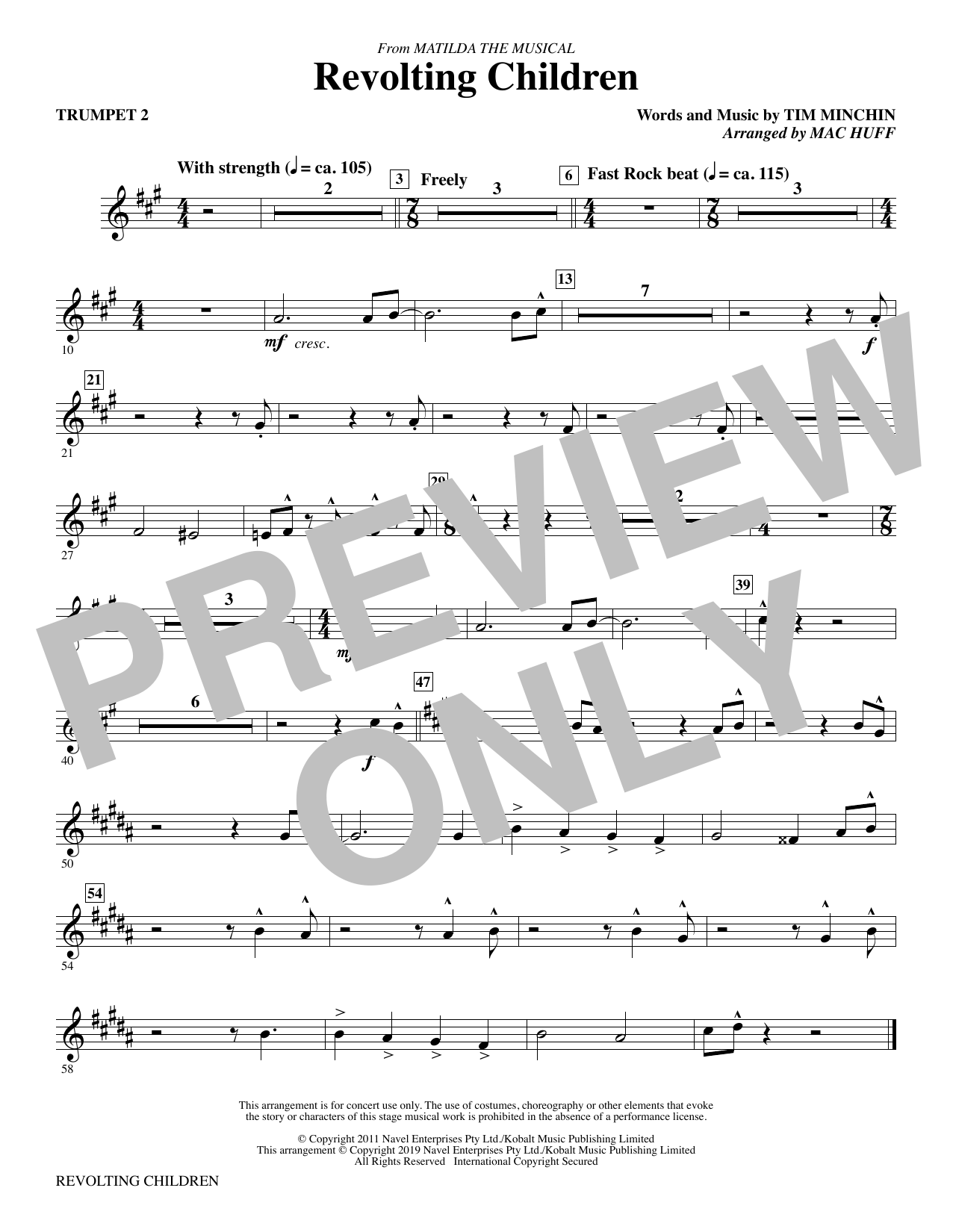 Revolting Children (from Matilda: The Musical) (arr. Mac Huff) - Trumpet 2 (Choir Instrumental Pak)