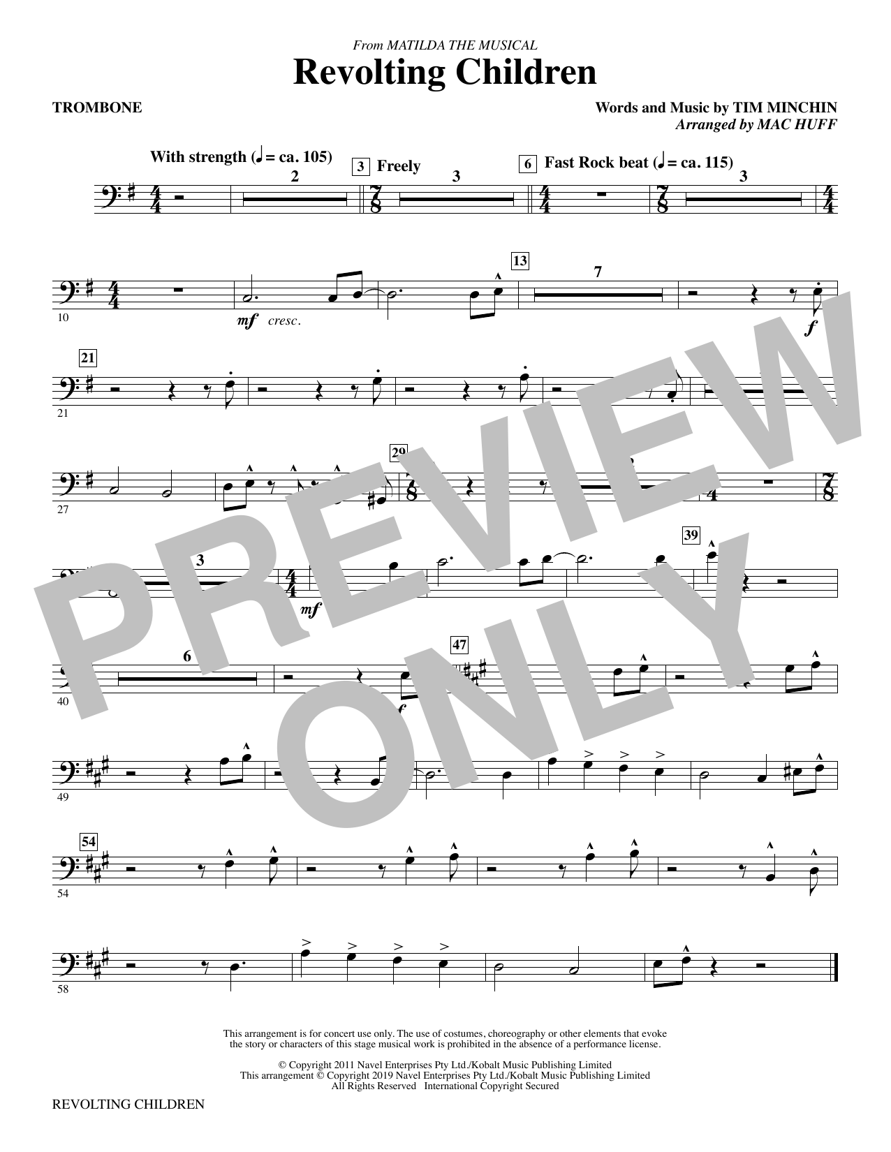 Revolting Children (from Matilda: The Musical) (arr. Mac Huff) - Trombone (Choir Instrumental Pak)
