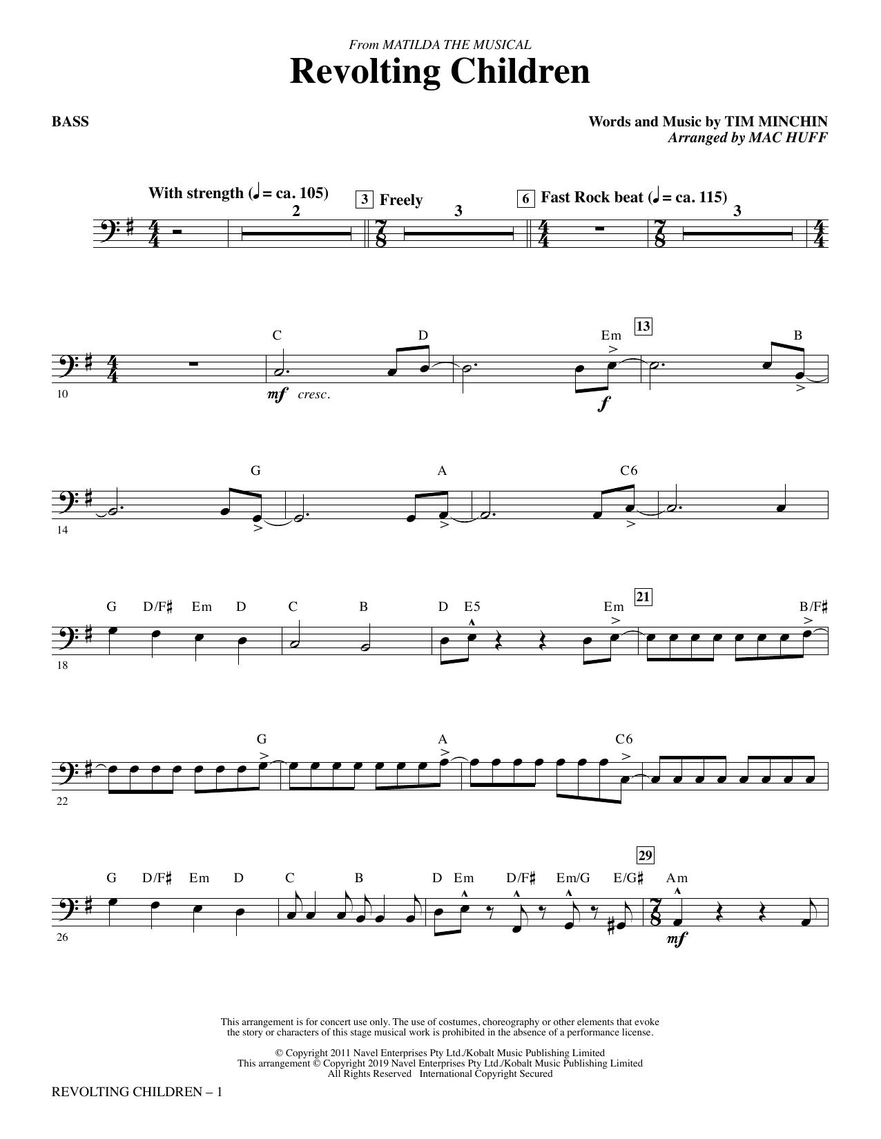 Revolting Children (from Matilda: The Musical) (arr. Mac Huff) - Bass (Choir Instrumental Pak)