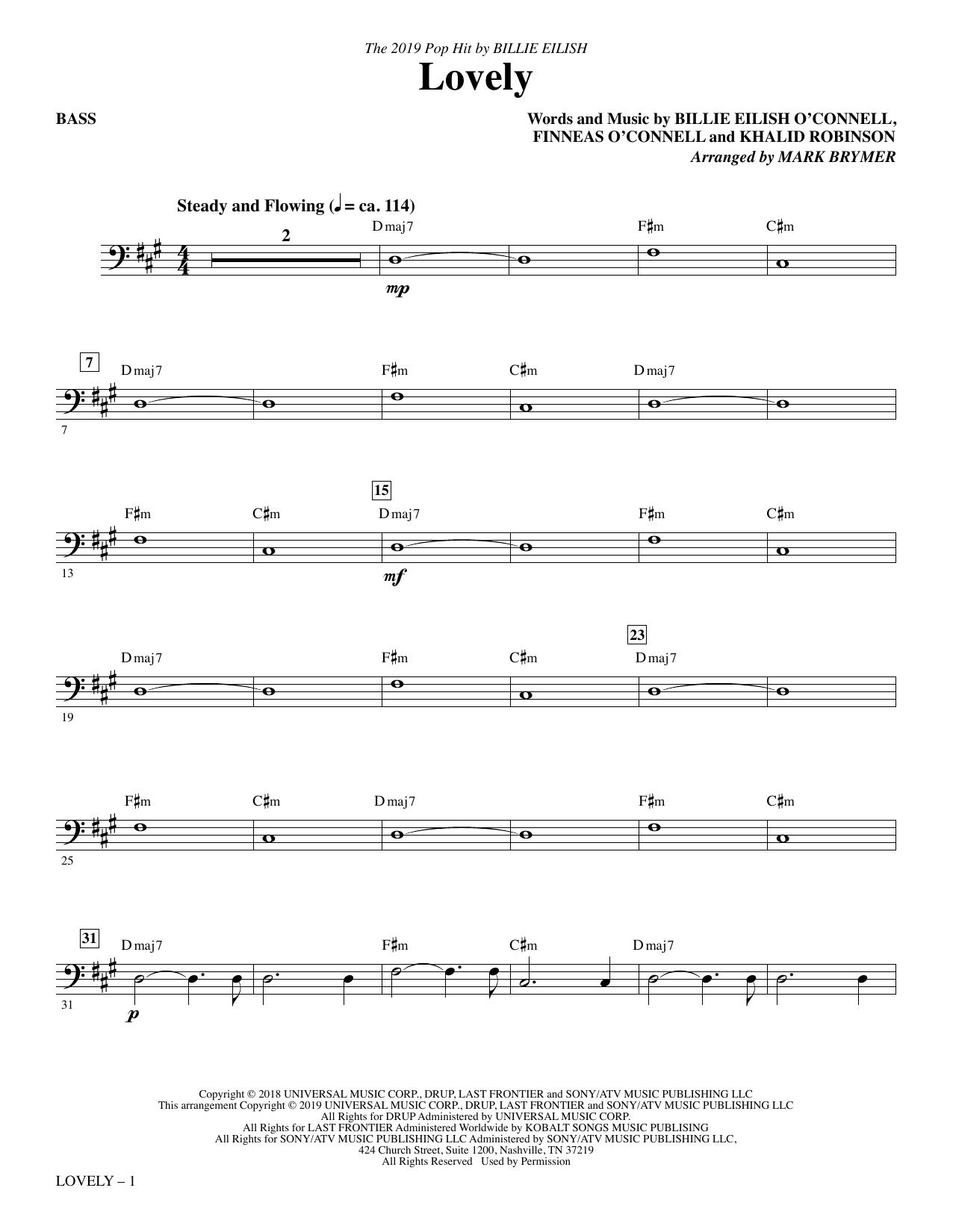 Lovely (from 13 Reasons Why) (arr. Mark Brymer) - Bass (Choir Instrumental Pak)