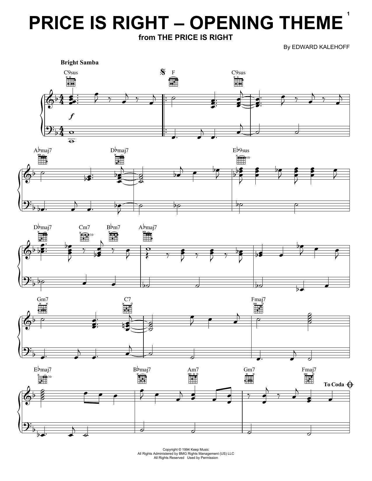 Price Is Right (Opening Theme) (Piano Solo)