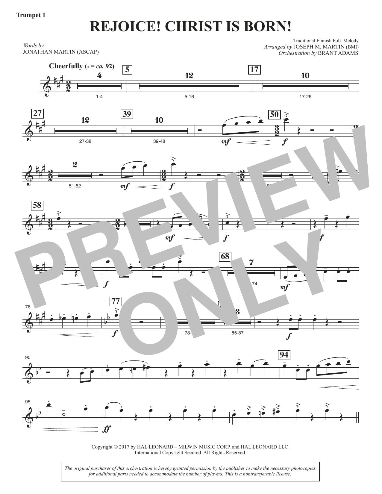 Rejoice! Christ Is Born! - Bb Trumpet 1 (Choir Instrumental Pak)