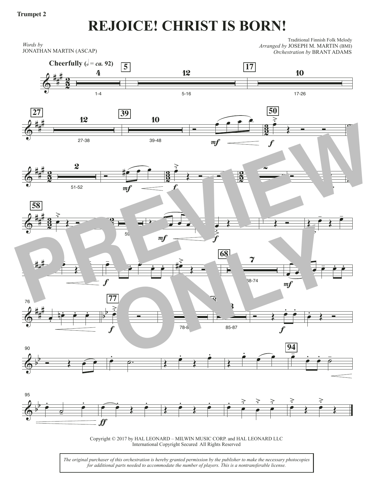 Rejoice! Christ Is Born! - Bb Trumpet 2 (Choir Instrumental Pak)