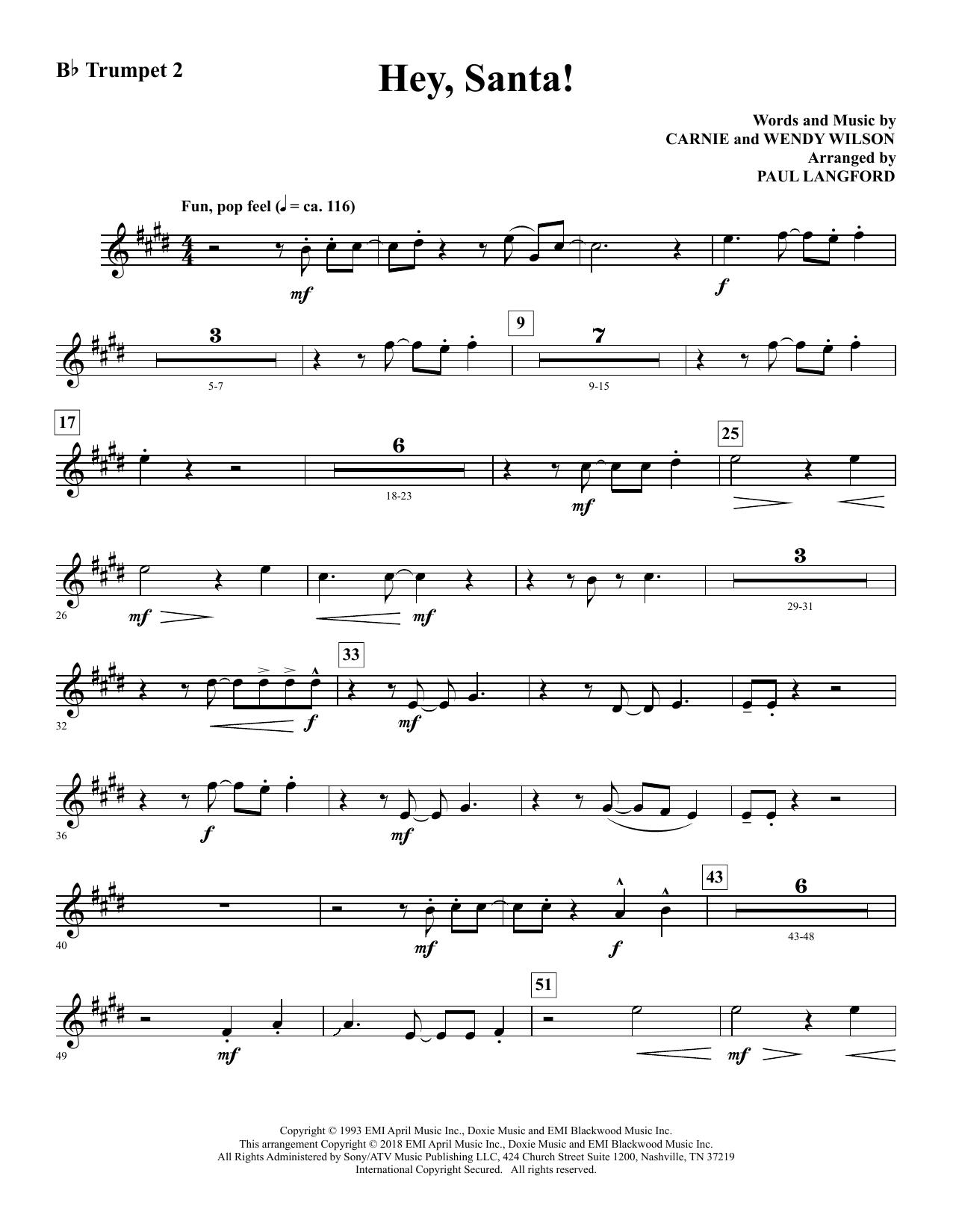 Hey Santa (arr. Paul Langford) - Bb Trumpet 2 Sheet Music