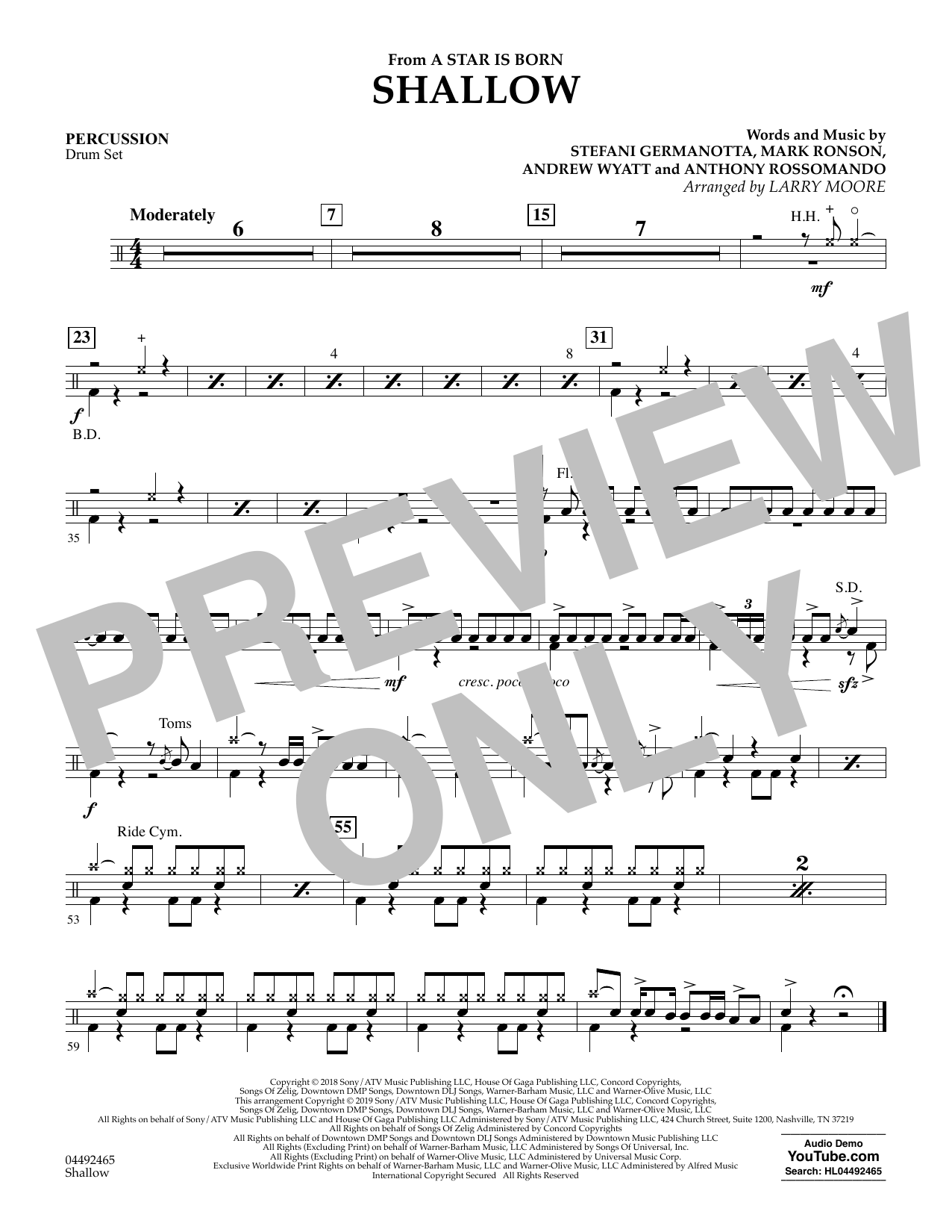Shallow (from A Star Is Born) (arr. Larry Moore) - Percussion (Orchestra)