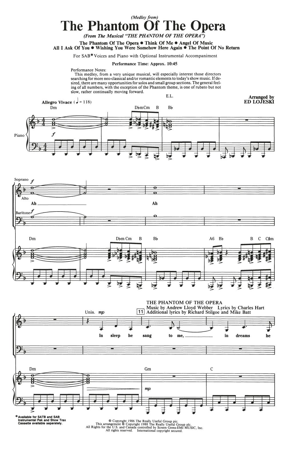 The Phantom Of The Opera (Medley) (arr. Ed Lojeski) (SAB Choir)