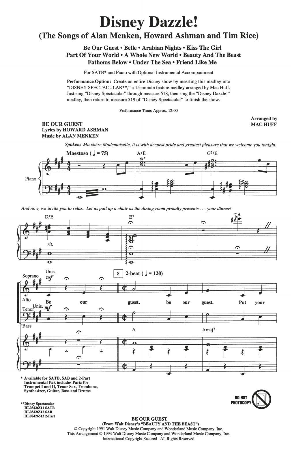 Disney Dazzle! (The Songs of Alan Menken, Howard Ashman and Tim Rice) (Medley) (SATB Choir)