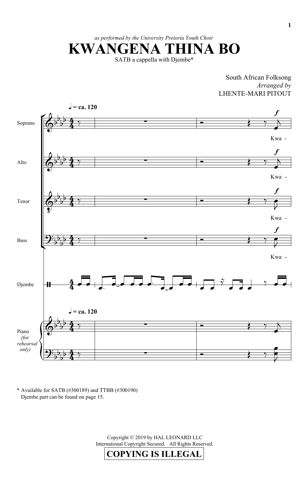 Kwangena Thina Bo (arr. Lhente-Mari Pitout) (SATB Choir)