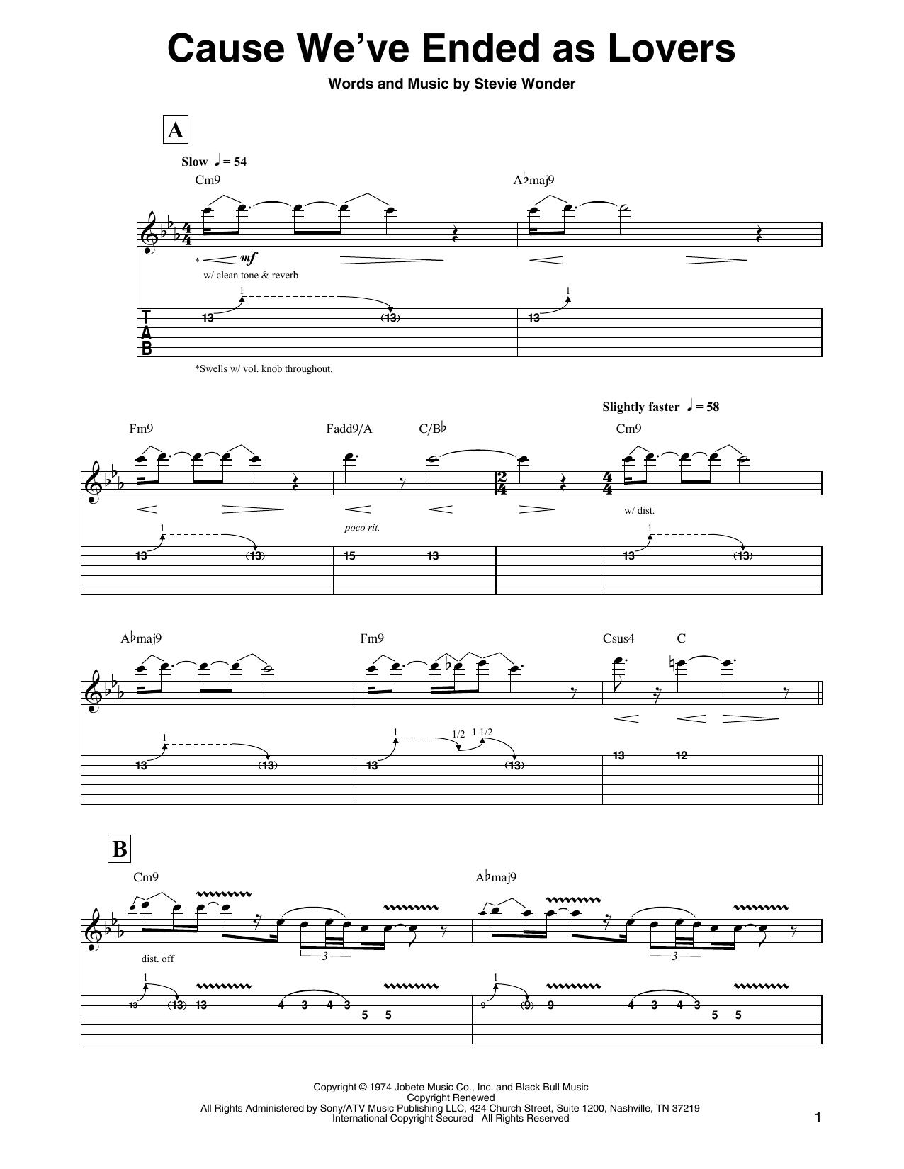 Cause We've Ended As Lovers (Guitar Tab (Single Guitar))