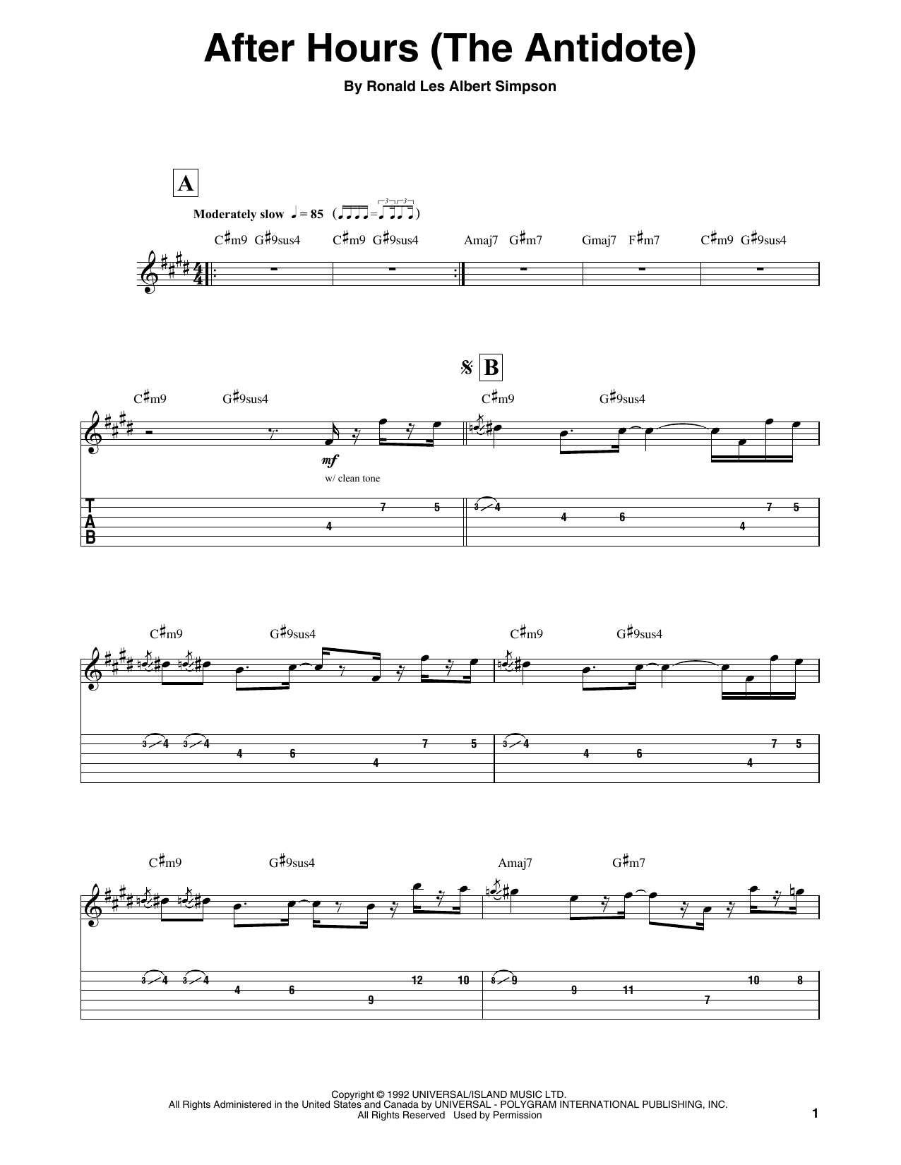 After Hours (The Antidote) (Guitar Tab (Single Guitar))