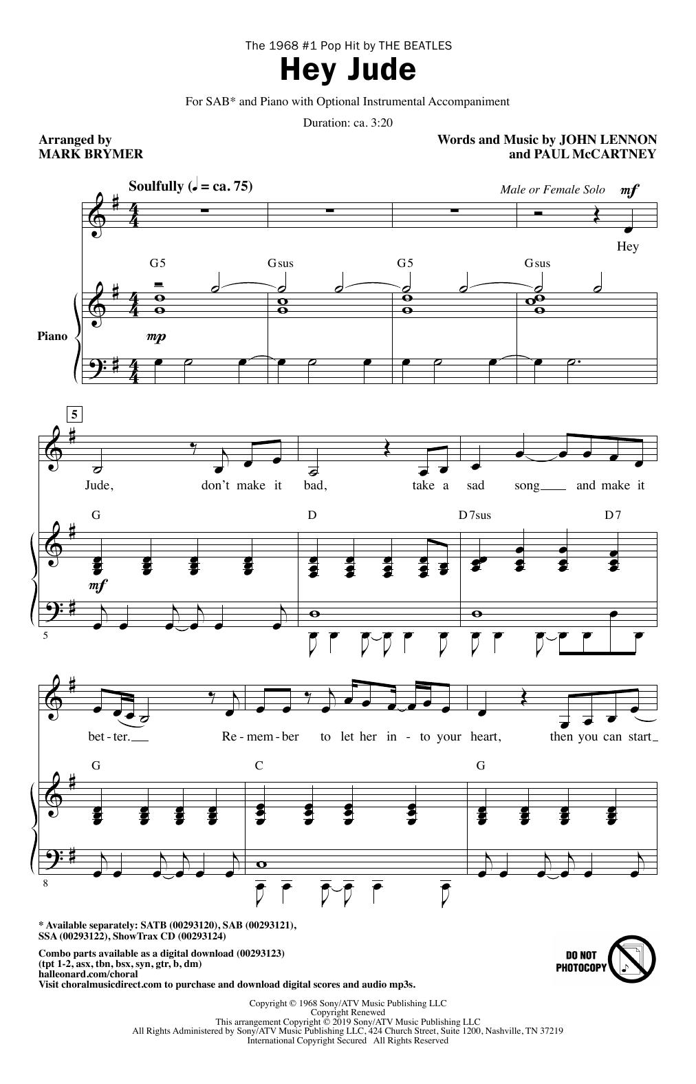 Hey Jude (arr. Mark Brymer) (SAB Choir)