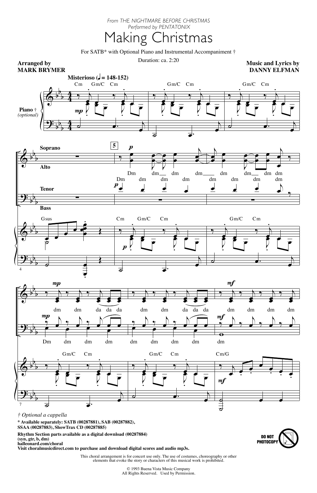 Making Christmas (from The Nightmare Before Christmas) (arr. Mark Brymer) (SATB Choir)