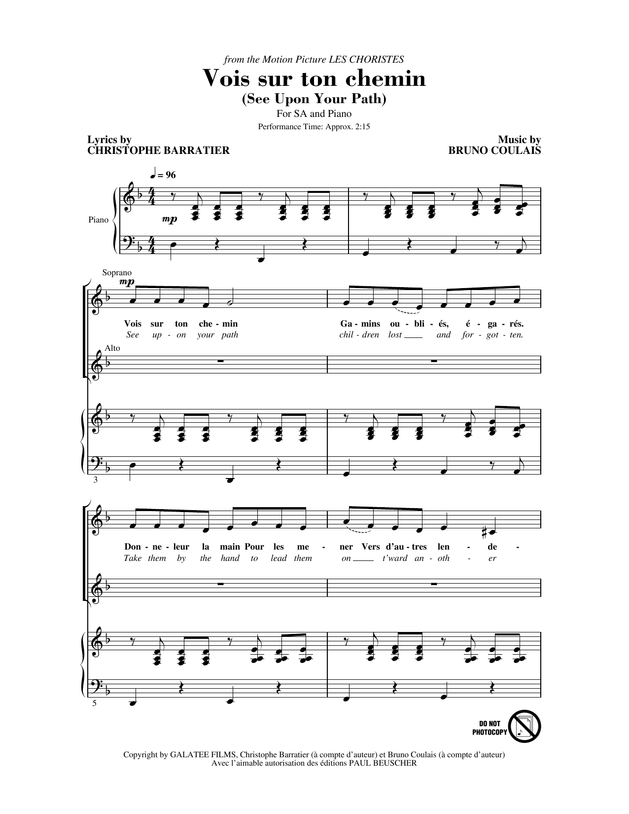 Vois sur ton chemin (See Upon Your Path) (from Les Choristes) (2-Part Choir)