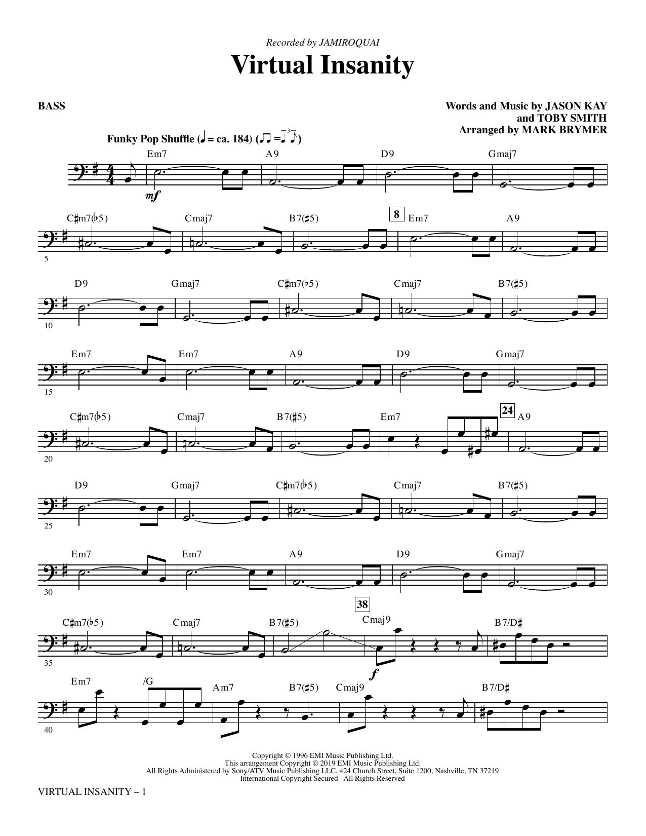 Virtual Insanity (arr. Mark Brymer) - Bass (Choir Instrumental Pak)