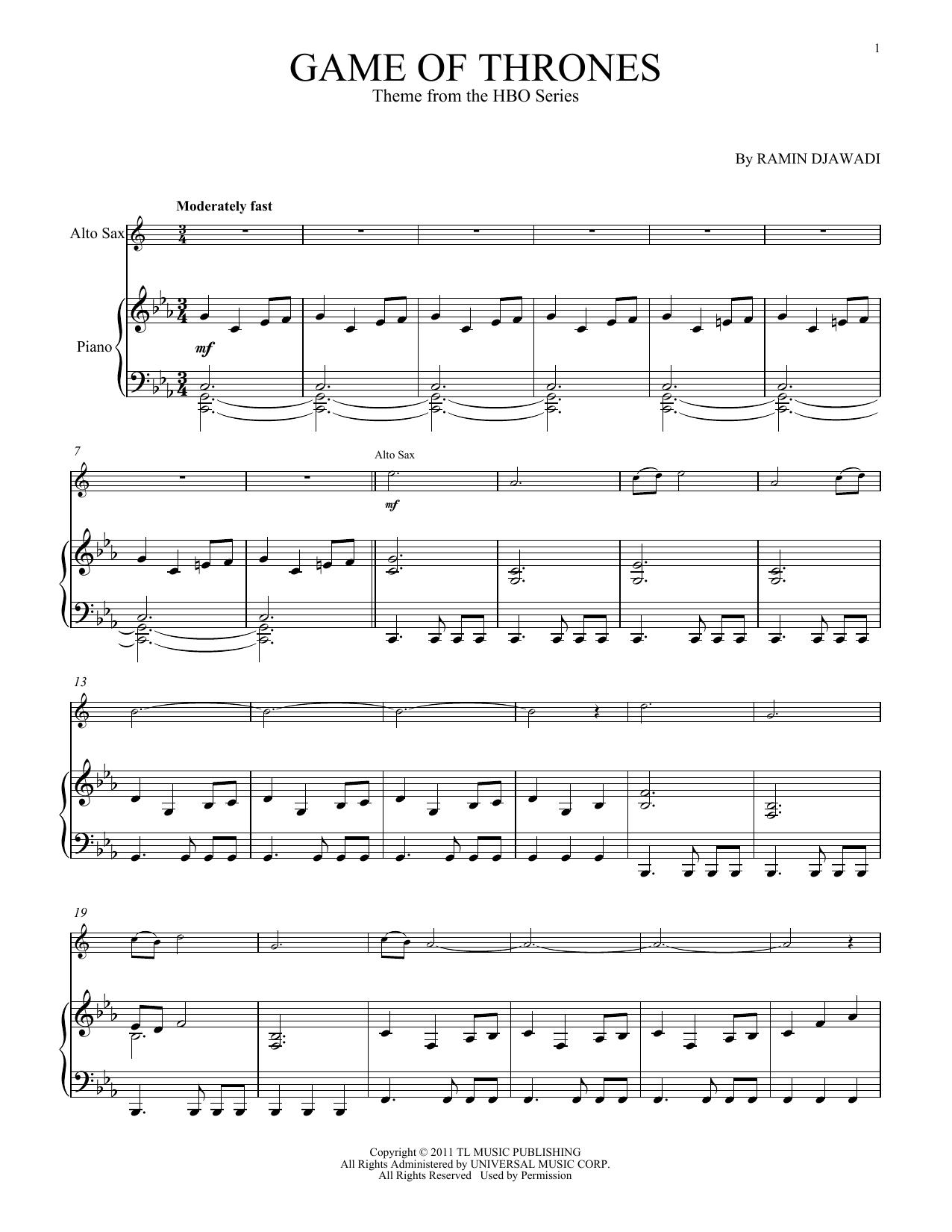 Game Of Thrones Titelmusik Klaviernoten game of thrones (alto sax and piano) - print sheet music now
