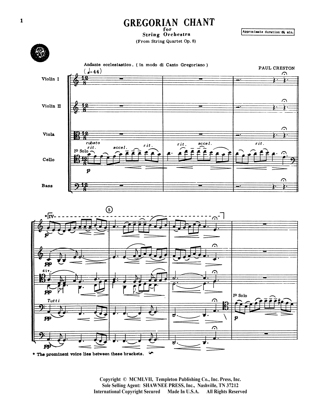 Gregorian Chant for String Orchestra - Violin 1 by Paul Creston Orchestra  Digital Sheet Music