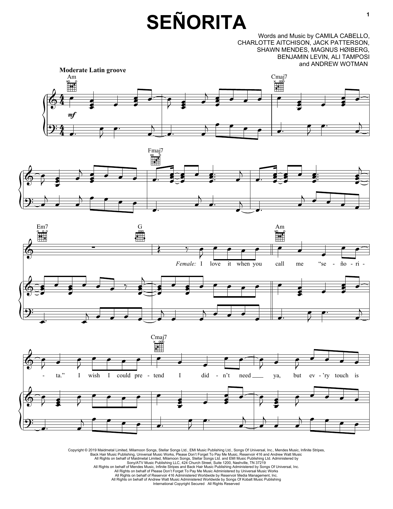 Senorita (Piano, Vocal & Guitar (Right-Hand Melody))