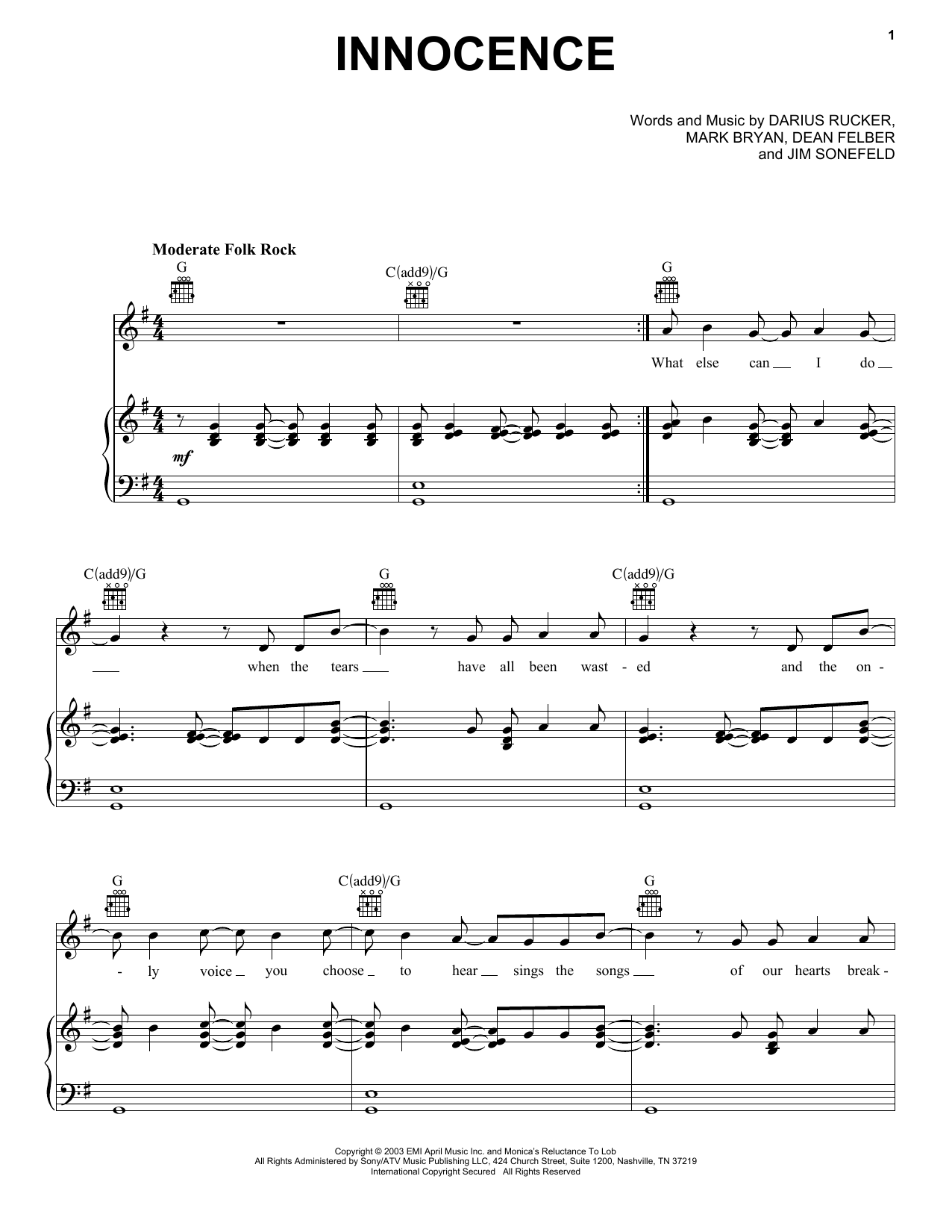 Innocence (Piano, Vocal & Guitar (Right-Hand Melody))