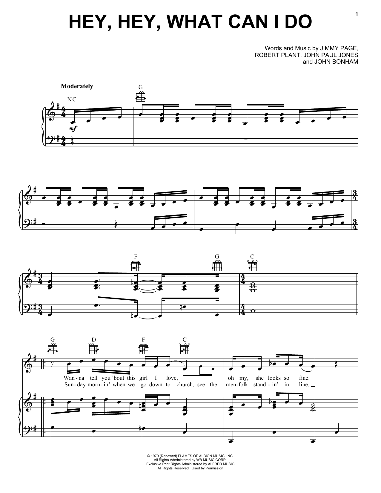 Hey, Hey, What Can I Do (Piano, Vocal & Guitar (Right-Hand Melody))