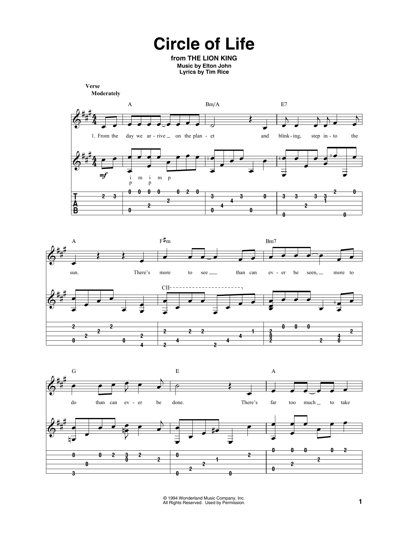Circle Of Life (from The Lion King) (Solo Guitar Tab)
