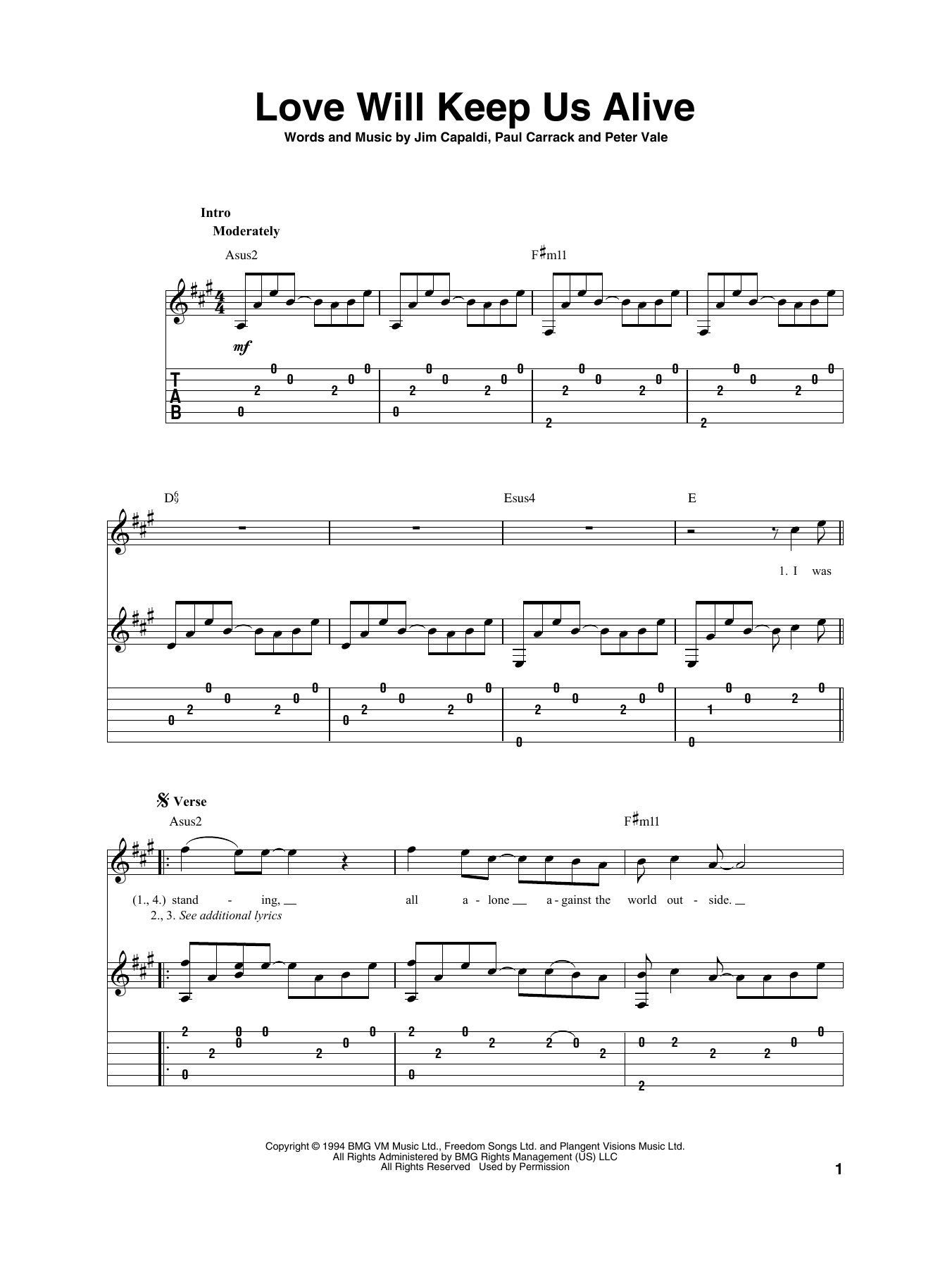 Love Will Keep Us Alive (Solo Guitar Tab)