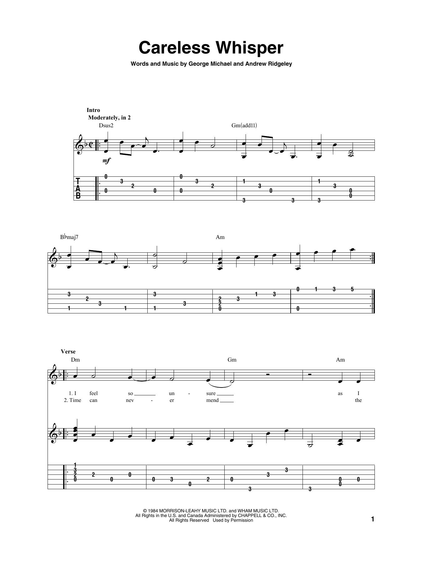 Careless Whisper (Solo Guitar Tab)