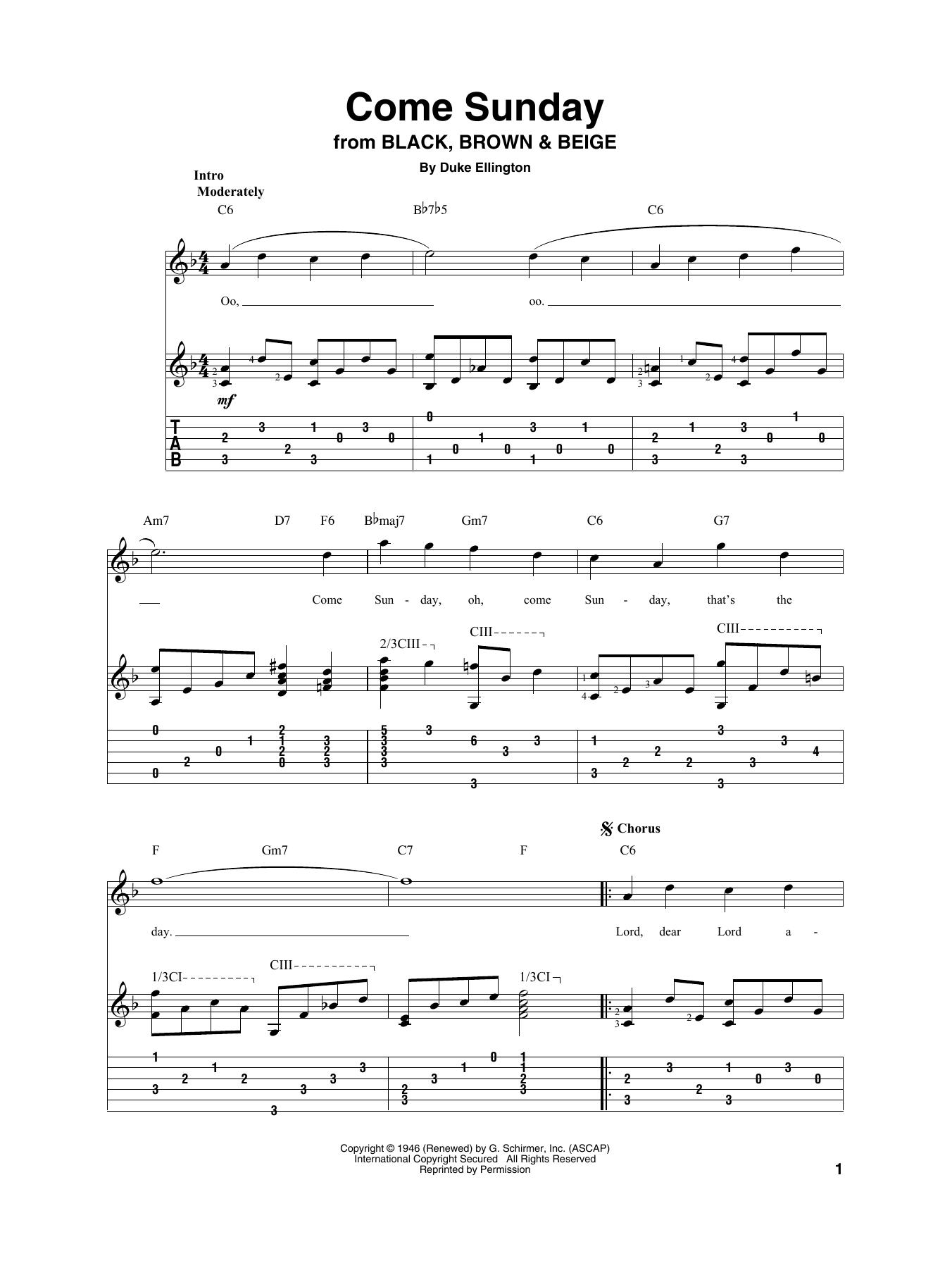 Come Sunday (Solo Guitar Tab)