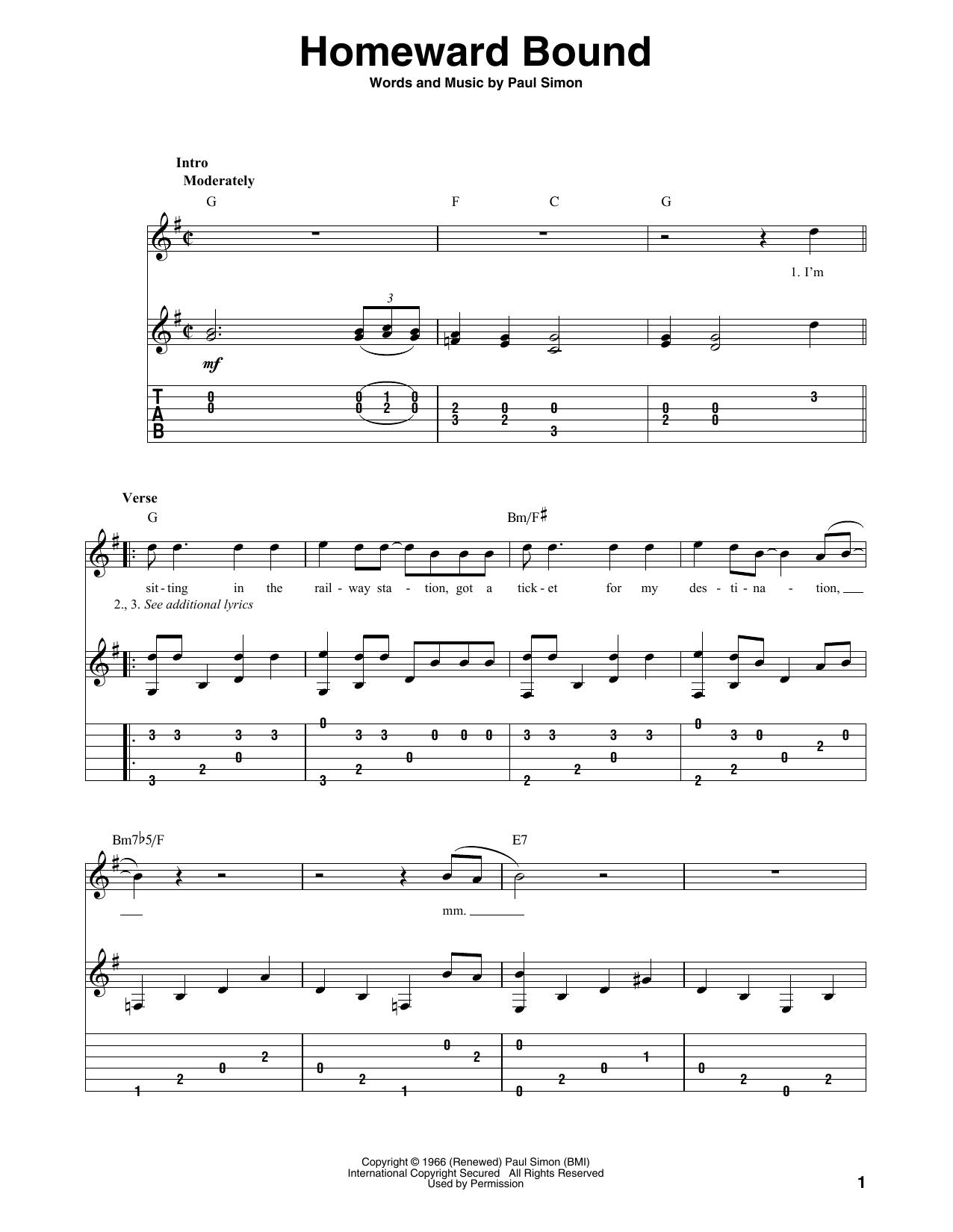 Homeward Bound (Solo Guitar)