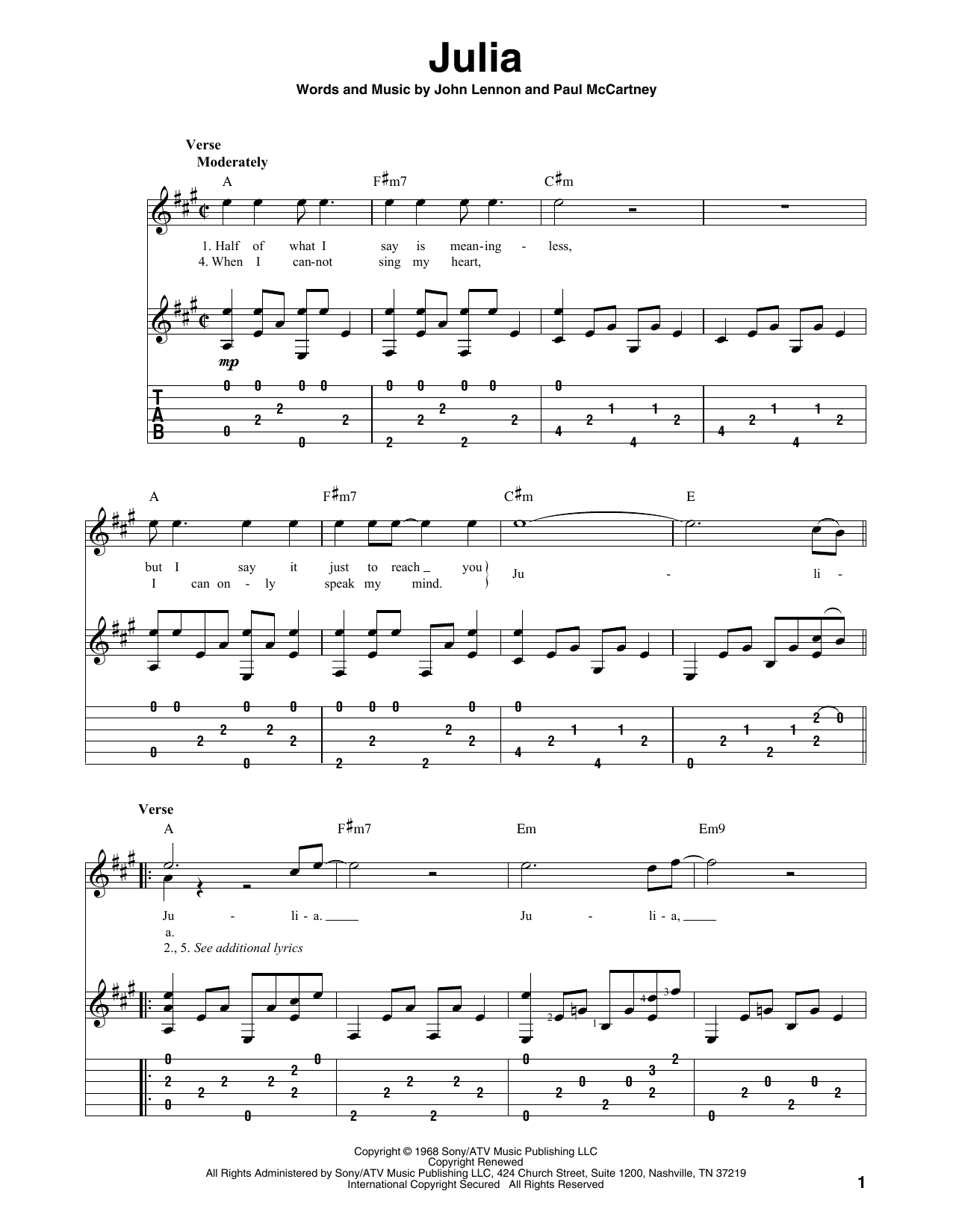 Julia (Solo Guitar Tab)
