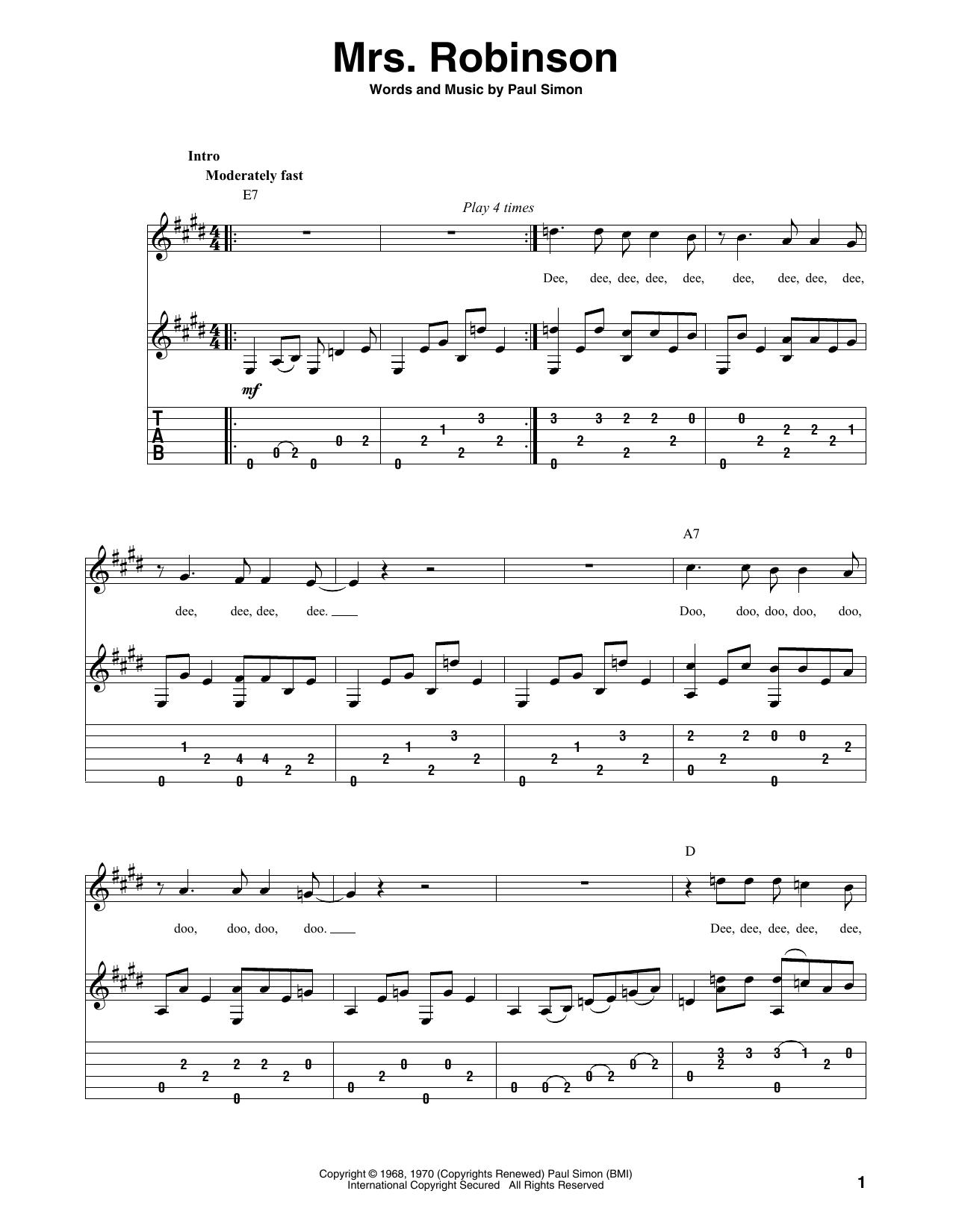 Mrs. Robinson (Solo Guitar Tab)
