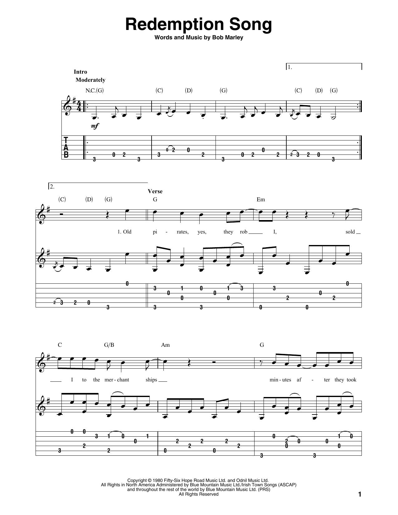 Redemption Song (Solo Guitar Tab)