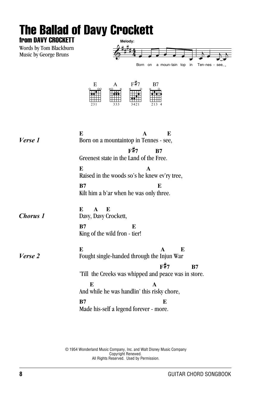 The Ballad Of Davy Crockett (Guitar Chords/Lyrics)