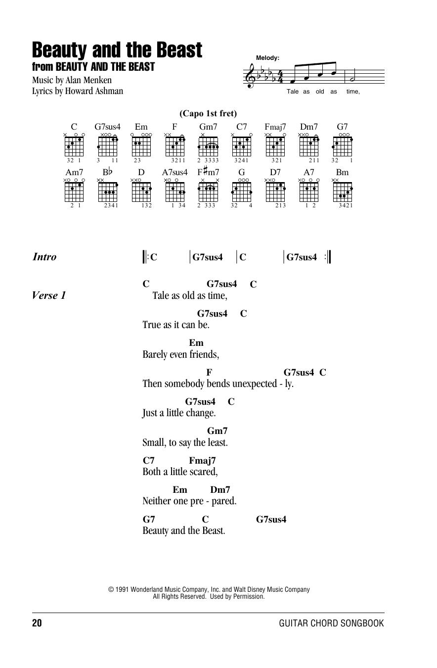 Beauty And The Beast (Guitar Chords/Lyrics)