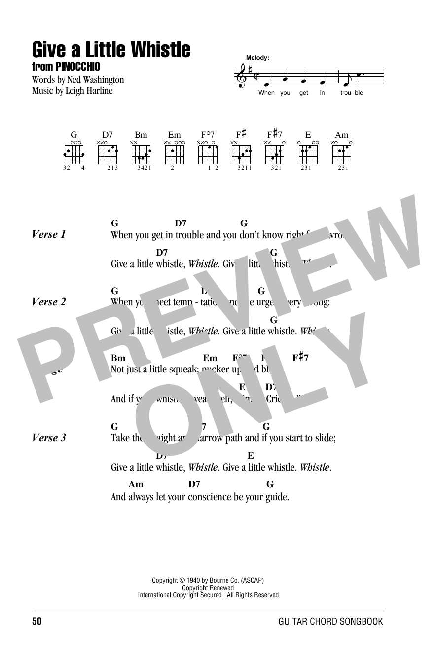 Give A Little Whistle (from Walt Disney's Pinocchio) (Guitar Chords/Lyrics)